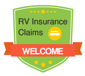 badge icon that says rv insurance claims welcome