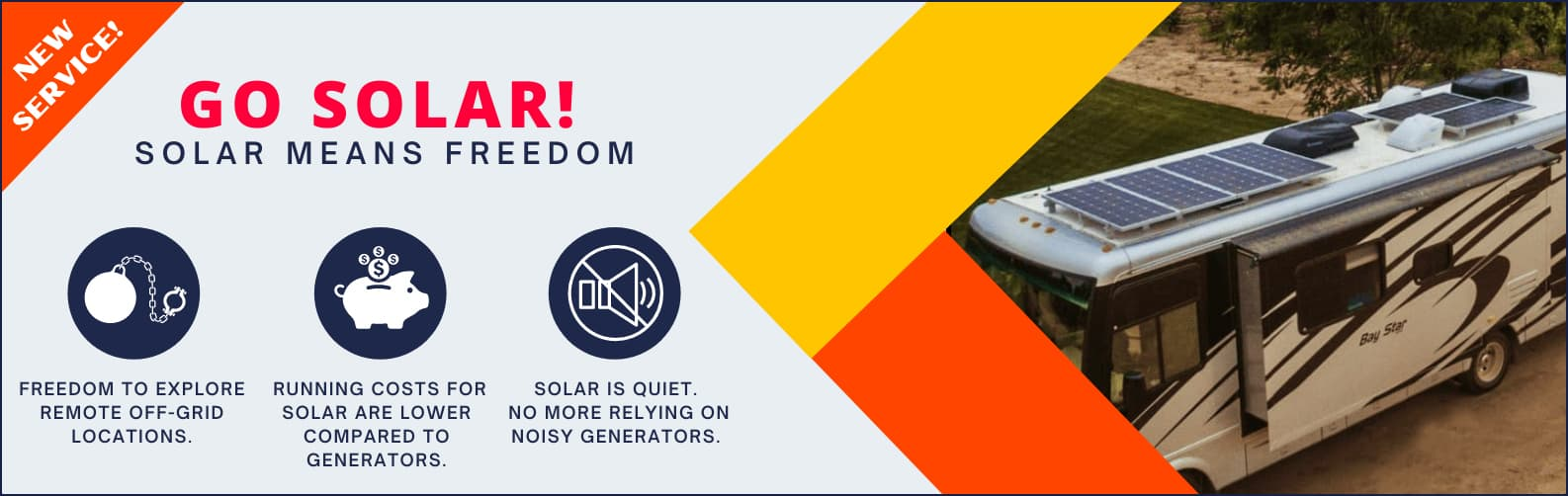 rv with solar panels on top and 3 benefits listed for going rv solar